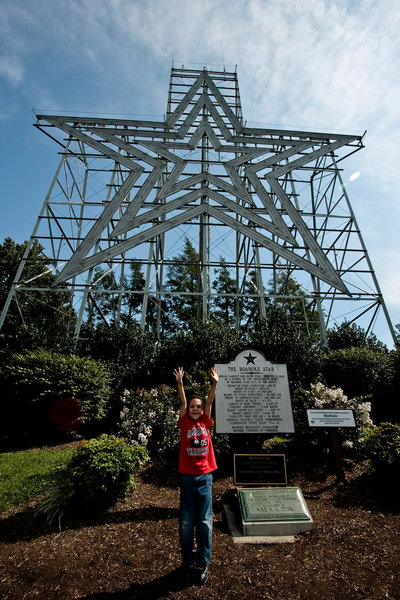 90' neon star at the top of Mill Mountain