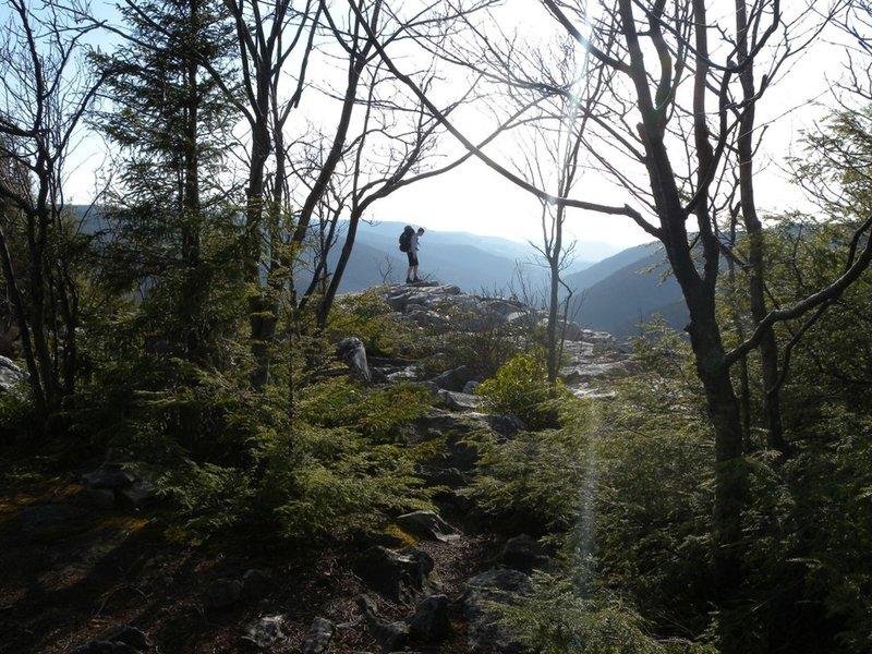 A hiker on Rorhbaugh Trail.