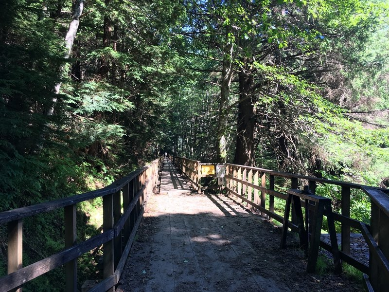 One end of the Gold Creek Flume Trail near Evergreen Avenue.