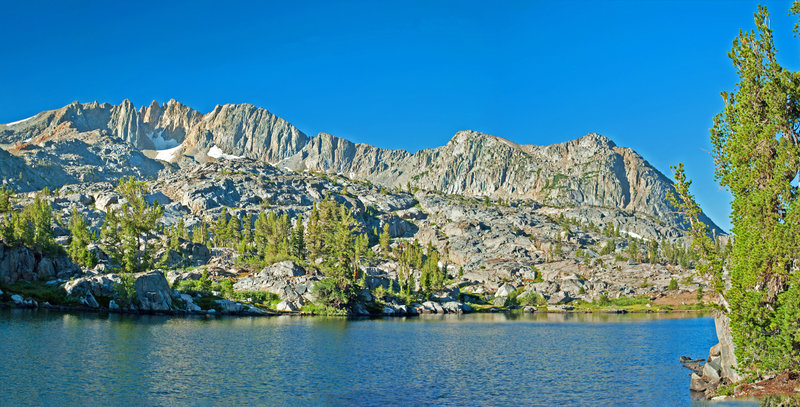 Upper Stella Lake, looking towards Forsyth Peak with its permanent snow fields. Great camping on the far shore.