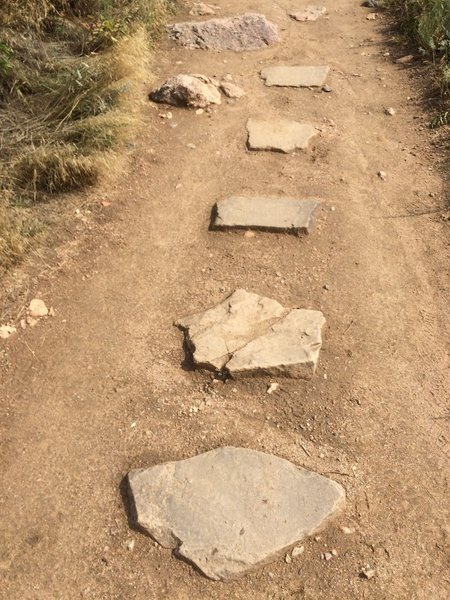 Rocks on the trail that look like steps.