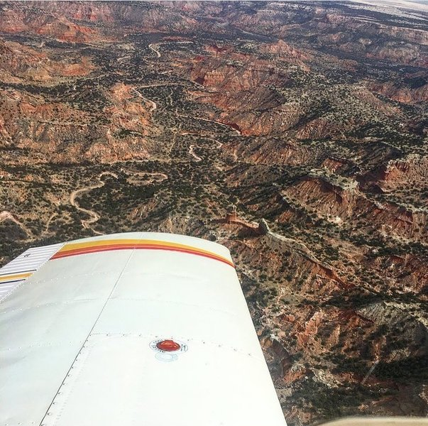 Aerial shot of the Lighthouse Trail from a Cessna 172.
