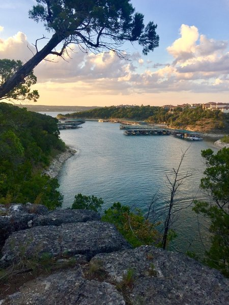 Great view of Rough Hollow arm of Lake Travis...great trail to get down to the water and have lunch and a dip in the lake!