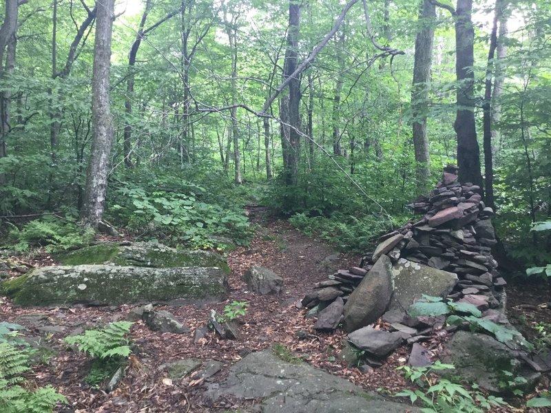 "The big stone cairn ( 42°9'28"" N, 74°4'56"" W)"