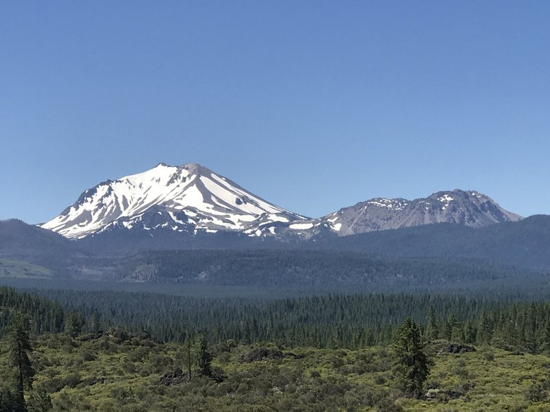 View of Mt. Lassen (left) and the Chaos Crags (right).