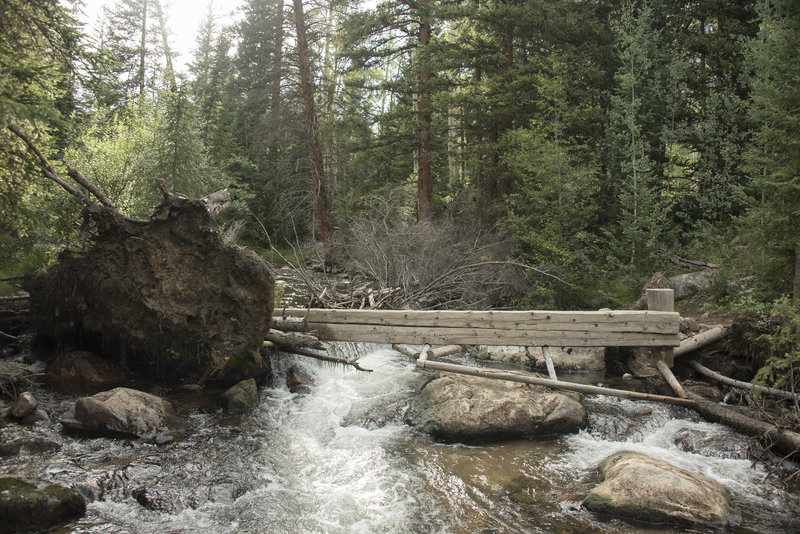 Photo from August 11, 2017, showing the foot bridge over Slate Creek on the Gore Trail overturned by a fallen tree. It is still possible to use it. Just requires expert balance or a bit of shimmy scoot.