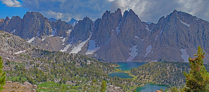 Threatening clouds over Kearsarge Lakes and Kearsarge Pinnacles