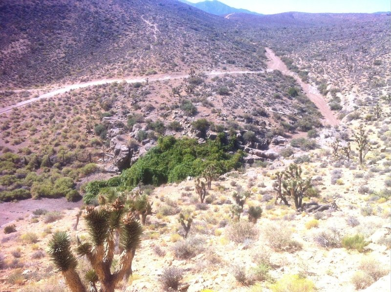 A view looking down at Grapevine Springs. A small corral with natural spring and livestock trough. Kind of odd to see in the middle of a desert.