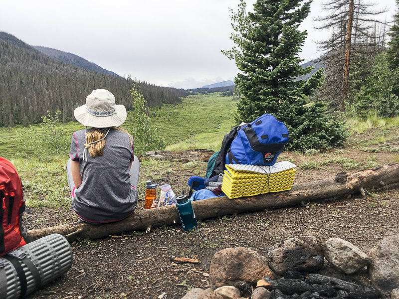 Lunch break on the Weminuche Trail. Happened upon this campsite just in time, trying to beat the afternoon rains.