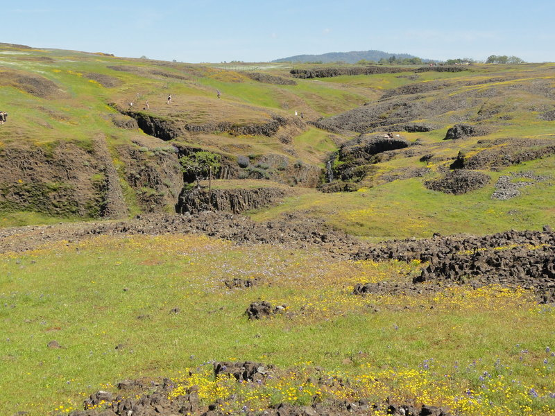 Exposed areas of the Table Mountain ancient lava flow - notice the absence of designated trails