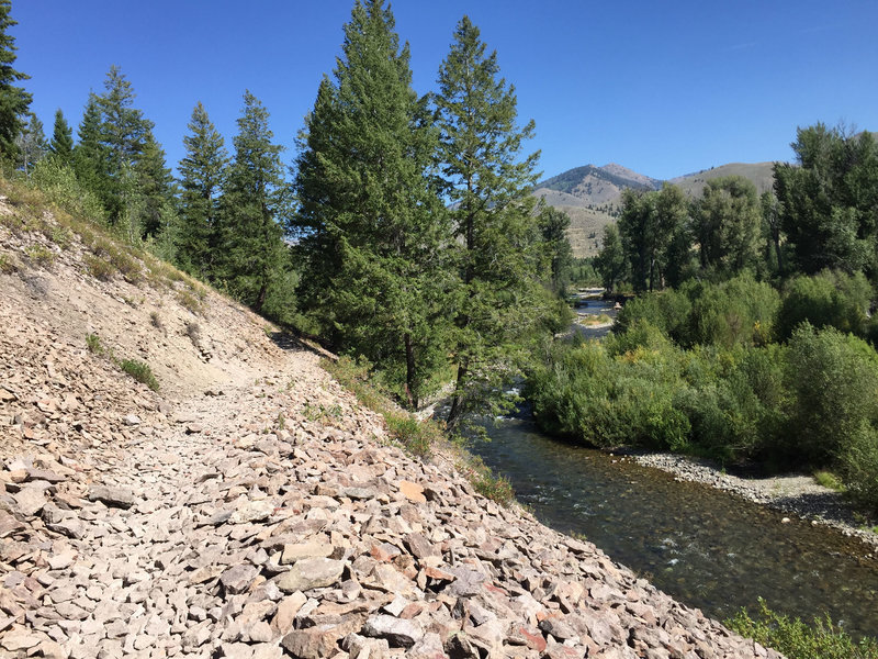 Watch for the rock slide! Down below the Wood River.