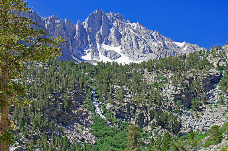 University Peak and the cascade coming from the Matlock Lake basin