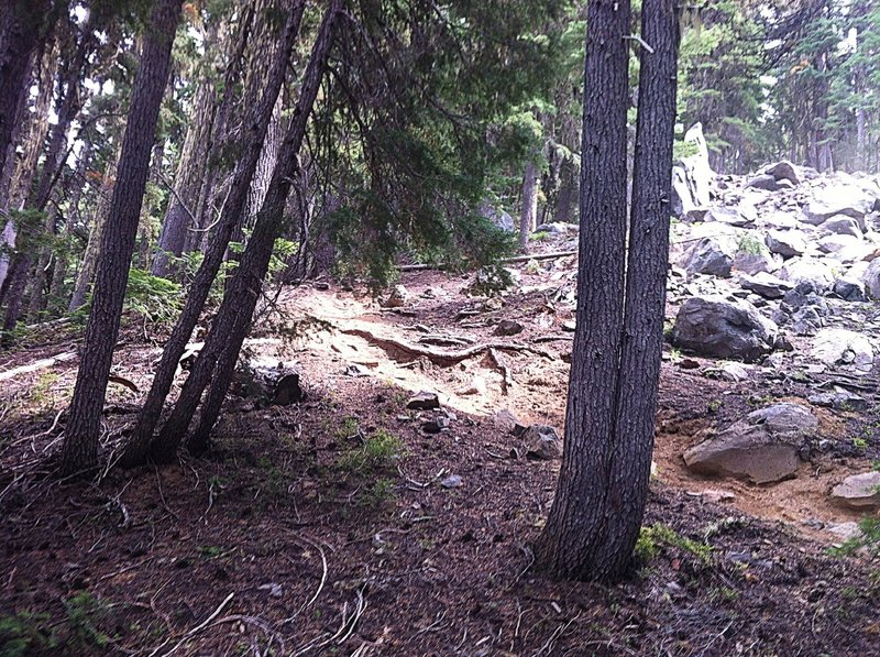 Bottom of the short, steep, technical section.