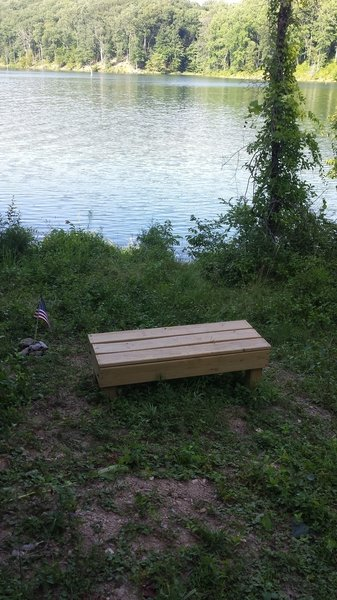 Benches offer a place to sit along the lake.