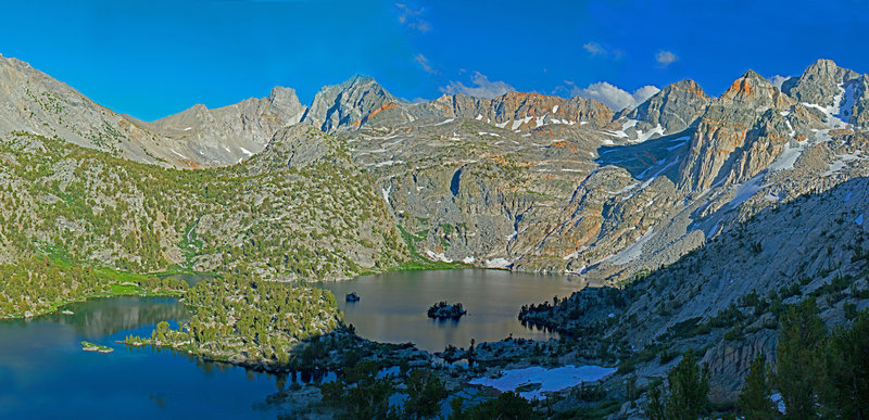 Evening sun on Rae Lakes and Sierra crest. Dragon Peak is in the left center on the far ridge. Painted Lady and Mt. Rixford are on the far right