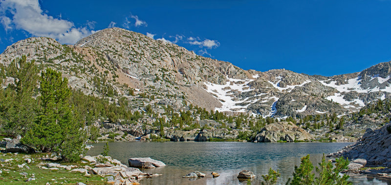 This is the first on-trail lake that you reach in Sixty Lakes Basin