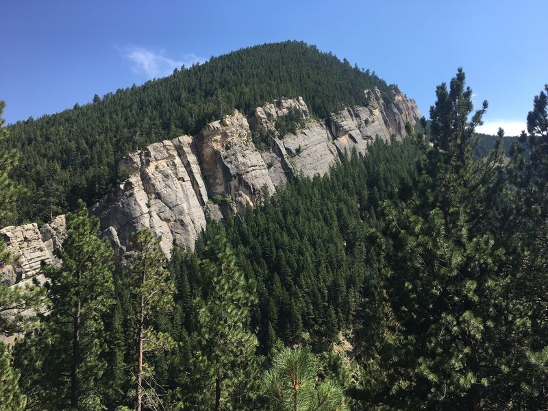 Immense limestone cliffs seen from the trail.