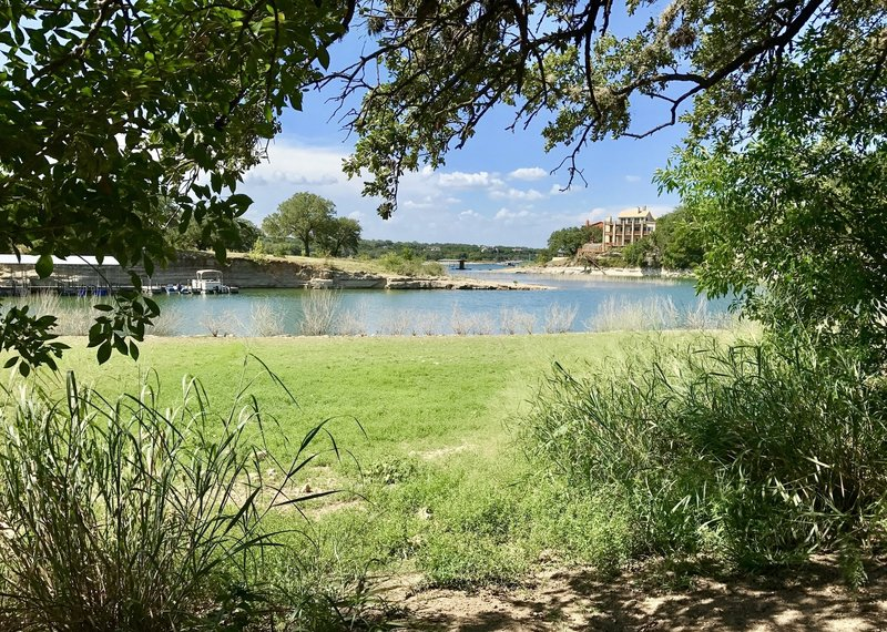 This is nice spot to have a nice quiet lunch under the shade of the trail looking out at outlet into Lake Travis.