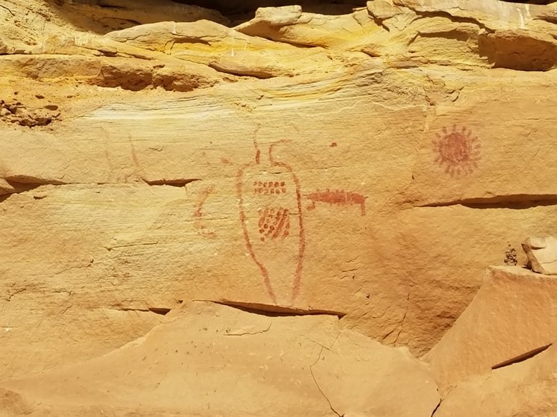 Native American petroglyphs on the trail