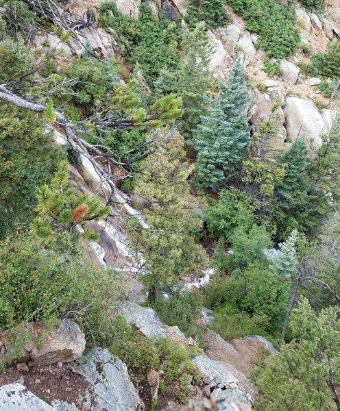 "Waterfall near the end of Bear Creek Trail (#666). Follow the ""Dead End"" trail sign."