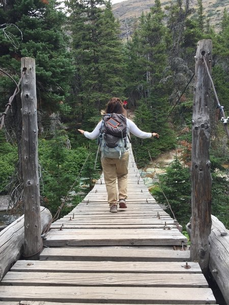 The swinging bridge at Paradise Creek.