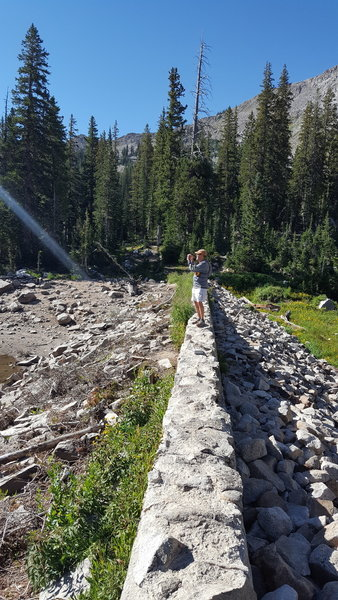 This rock dam at Lower Red Pine Lake was built in the 1920's.
