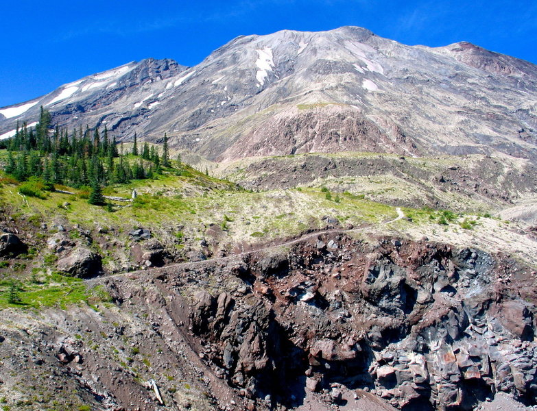 Getting up close and personal views of Mt. St. Helens from the Ape Canyon Trail.