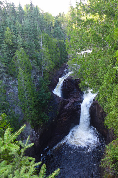 View of the mysterious Devil's Kettle from the overlook.