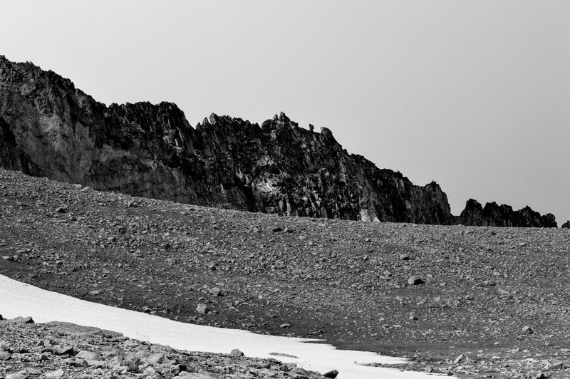 The jagged northern side of Third Burroughs as seen from a snowfield on the way up.