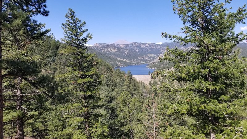 Mountain, reservoir, and dam view from trail