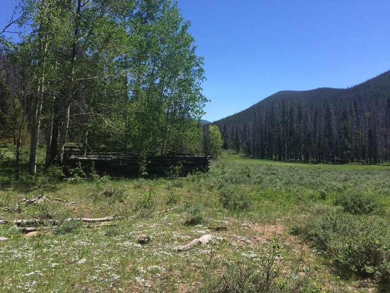 Old homestead ranchers cabin. There's another one in the northeast corner of the meadow by the Cty Rd 6 Trailhead.