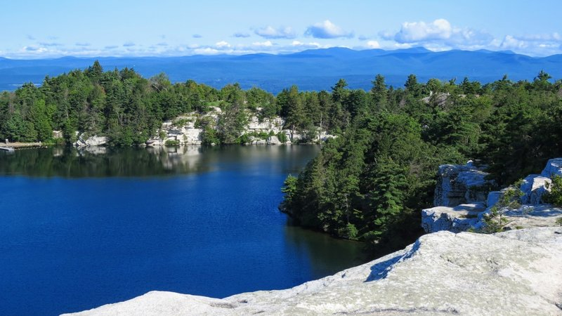 Be sure to stray from the carriage trail and investigate the cliffs overlooking Lake Minnewaska. The peaceful lake with the Catskill Mountains as a backdrop is the perfect way to start this hike.