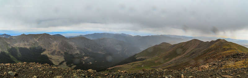 View to the north ~ northwest from Wheeler's summit, early morning on August 24, 2017 as light rain keeps things cool.