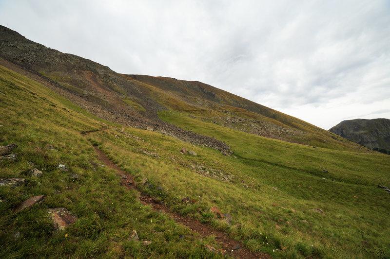 Wheeler Peak's northwest slopes during a rainy August morning