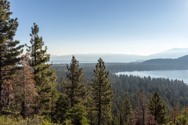 Fallen Leaf Lake (on the right) and Lake Tahoe (in the background) from the Mount Tallac Trail