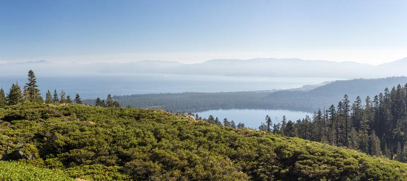 Panoramic view of Lake Tahoe and Fallen Leaf Lake