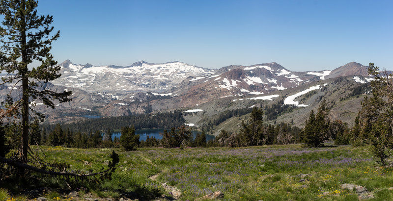Green meadows and Gilmore Lake in front of Mount Price.