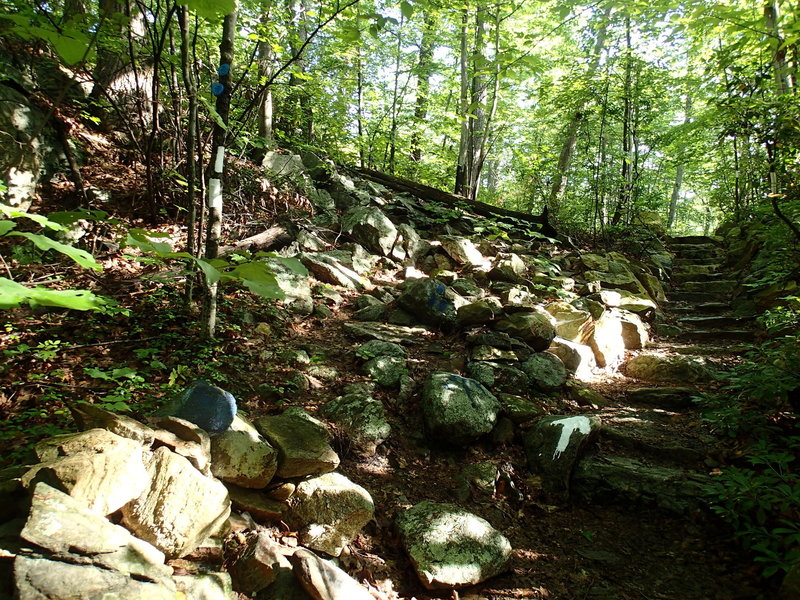Start of the Fahnestock Trail. Staircase straight is the Appalachian Trail.
