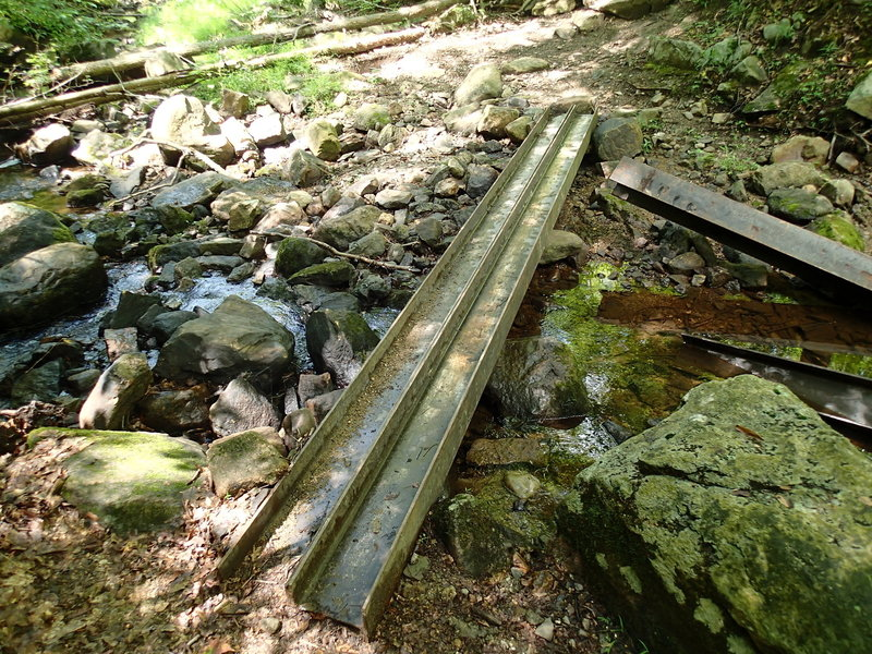 Cross a stream where the Fahnestock Trail joins the the School Road Trail