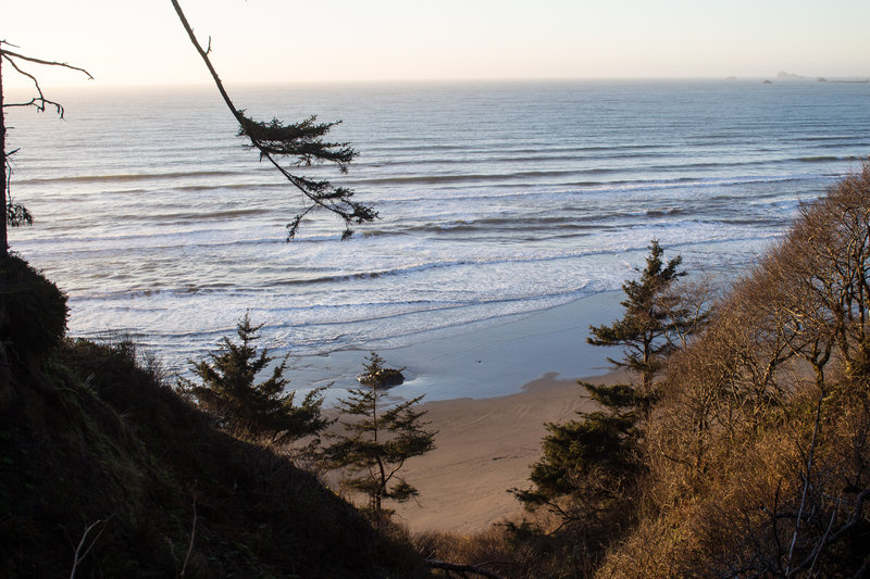 Ocean view from Crescent Beach Trail during winter sunset