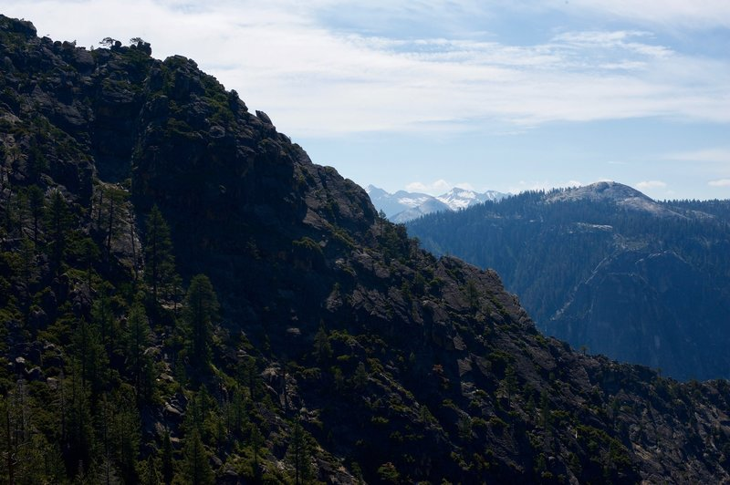 Eagle Peak and the High Sierras as you traverse the North Rim.