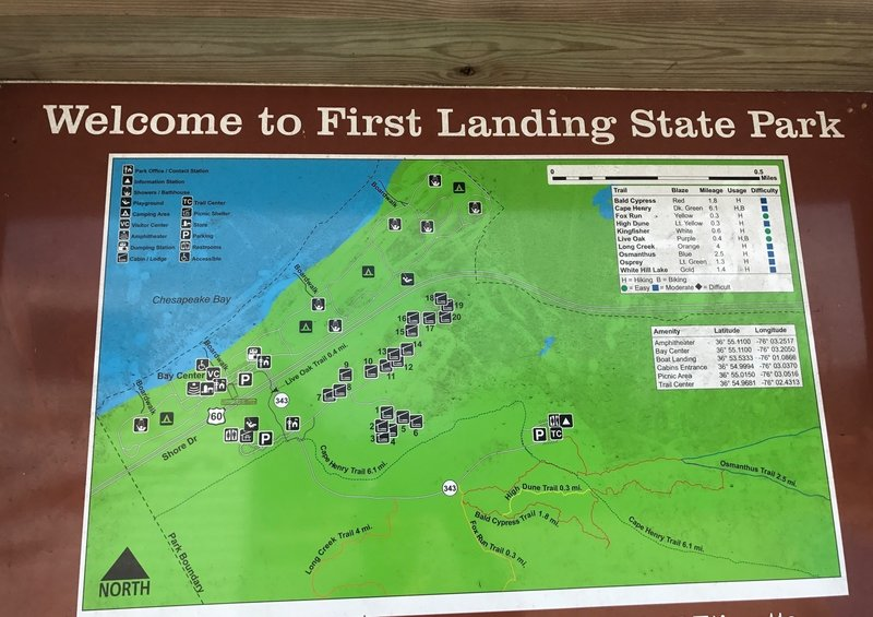 First Landing Trail Info at the trailhead kiosk.