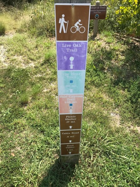 Trail marker at First Landing