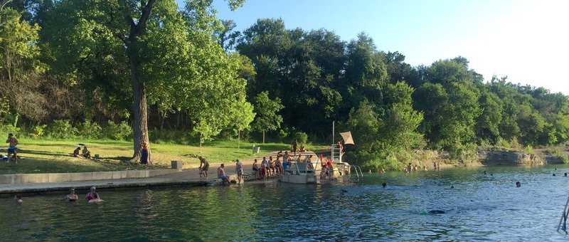 Barton Creek at Zilker Park...just off the trail.  Lifeguards are on duty and diving board is a fun attraction.