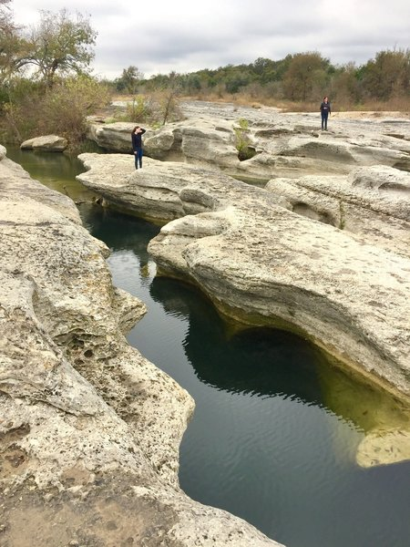 McKinney Falls State Park, just above the waterfalls in the winter time.