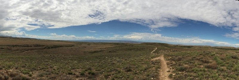 View of Western Zippety facing south towards Fruita. Zippety ridge runs parallel on the left.