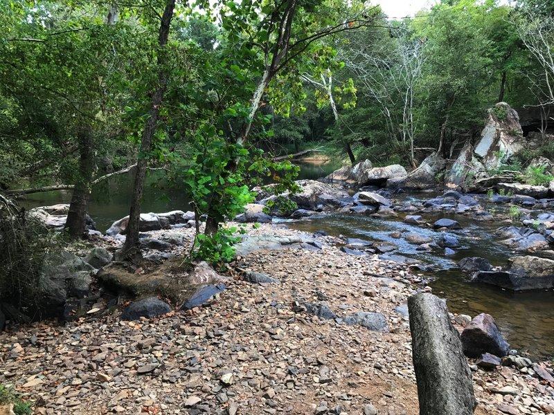 Rocky natural dam above Bobbitt Hole