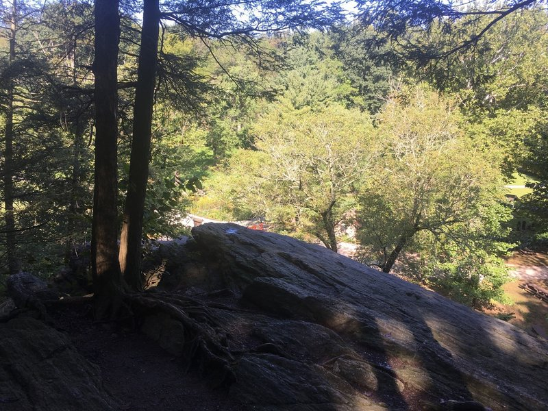 A look below from the top of the large boulders along Pennypack Creek