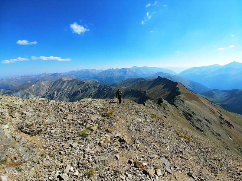 Hiking the ridge to Grizzly