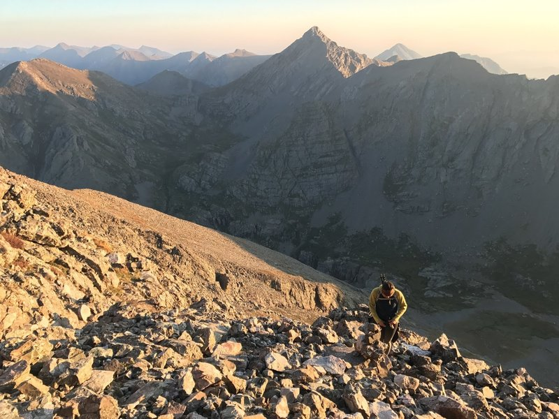 With loose scree along the North Slope ascent of Challenger Point, another reason to summit early.
